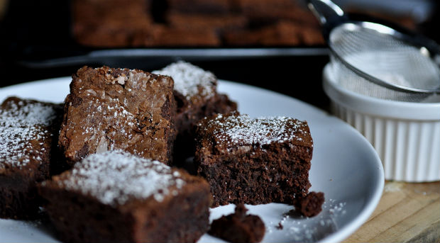 Double chocolate cinnamon-chilli brownies on a plate