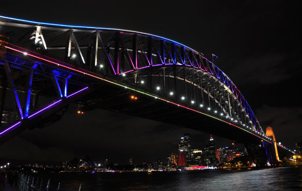 Vivid 2014 - Sydney Harbour Bridge at night from Milsons Point