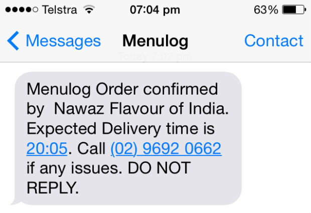 Menulog sms confirmation