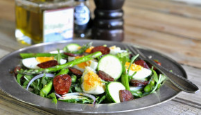 chorizo rocket and asparagus salad