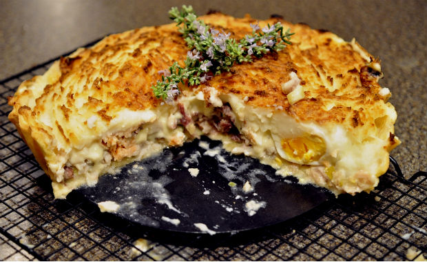 sliced smoked fish pie
