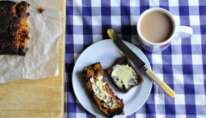 Malt loaf on a plate with tea