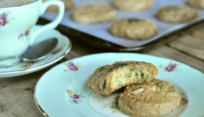 Lemon and pistachio biscuits with afternoon tea