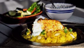 Moroccan spiced fish and yellow rice