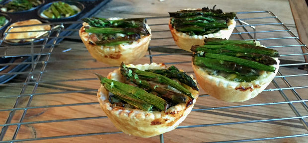 Chicken and asparagus pies up close