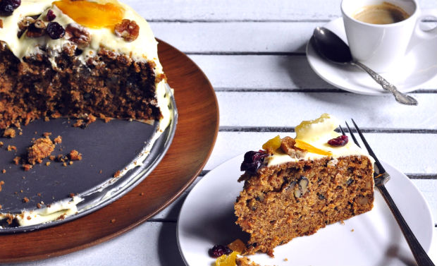 Carrot and pineapple cake on a table