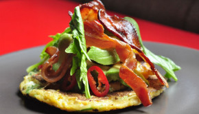 sweetcorn pancake with smoked bacon