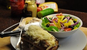 Turkey croque-monsieur with salad