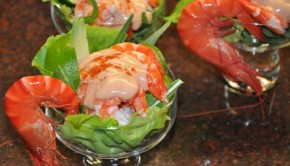 Prawn cocktail in glass bowls