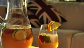 An image of a glass of Pimms and lemonade