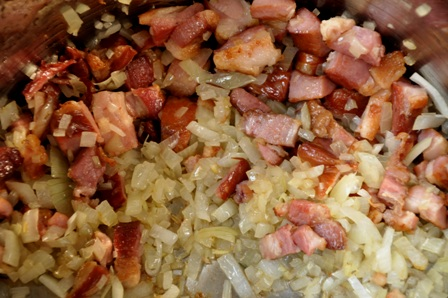 Bacon and onion frying