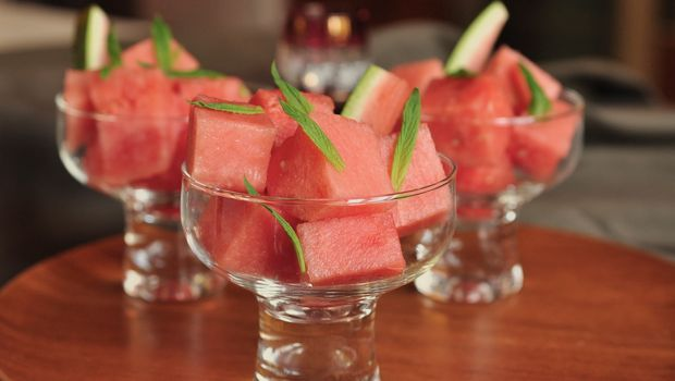 An image of Moroccan watermelon salad with mint and rosewater