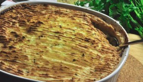 An image of fish pie and fresh parsley
