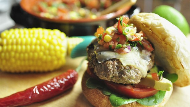 Mexican burger with corn & tomato salsa
