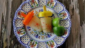 Margarita ice pops with lime wedges