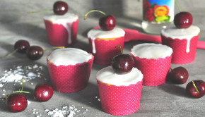 Gluten & dairy free almond, cherry and rosewater cakes
