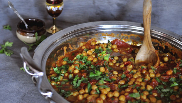 Chickpea and sweet potato tagine with harissa
