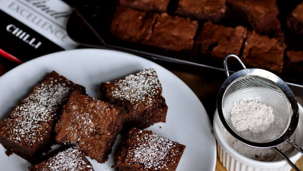 Double chocolate cinnamon-chilli brownies on a white plate