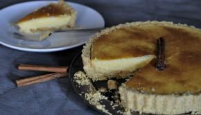 South African Melktert - milk or custard tart on a plate