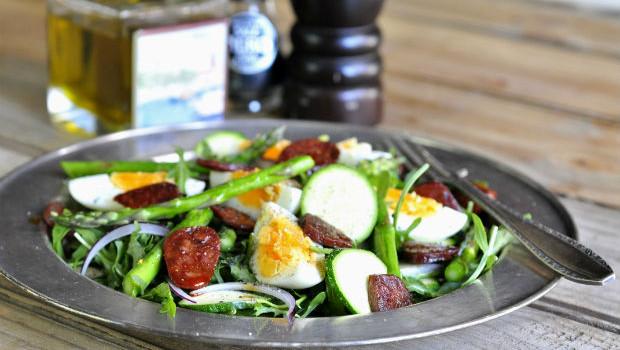 chorizo rocket and asparagus salad