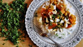 sweet potato and chickpea korma curry