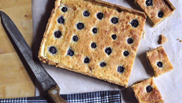 Fresh baked blueberry and frangipane tart
