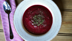 Roasted beetroot soup in a bowl