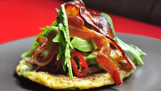sweetcorn pancake with smoked bacon
